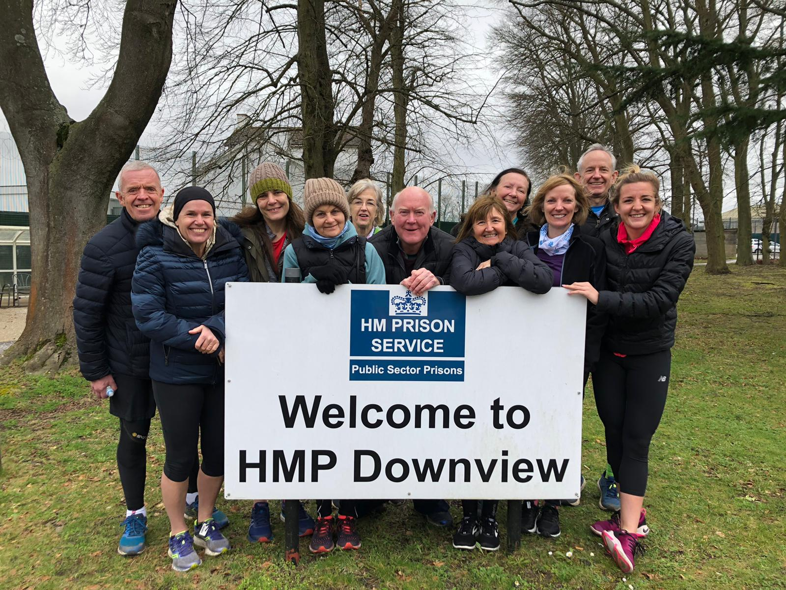 Pembroke Athletica outside HMP Downview parkrun